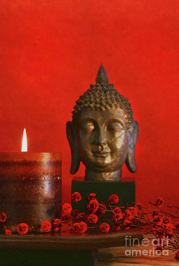 Asian Theme With Candle  Photograph  - Asian Theme With Candle  Fine Art Print