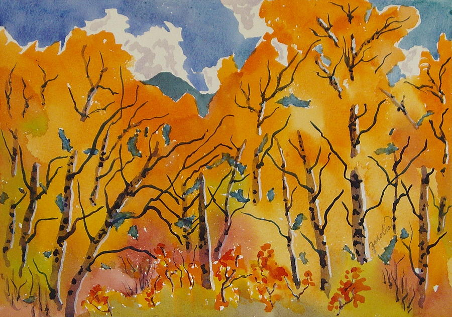 Aspen In Orange Steamboat Springs Colorado Painting