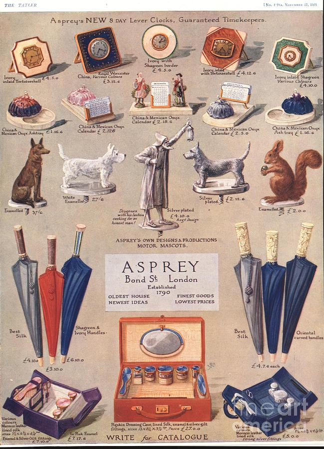 Asprey 1925 1920s Uk Asprey Gifts Drawing  - Asprey 1925 1920s Uk Asprey Gifts Fine Art Print