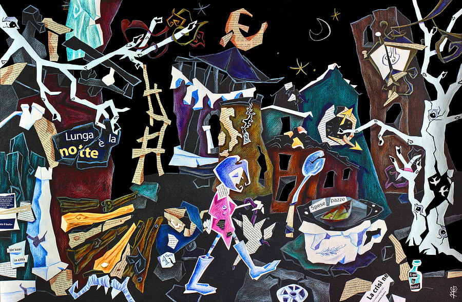 Assurda Realta - Venice Art Collage - Economic Crisis Europe Italy Drawing  - Assurda Realta - Venice Art Collage - Economic Crisis Europe Italy Fine Art Print