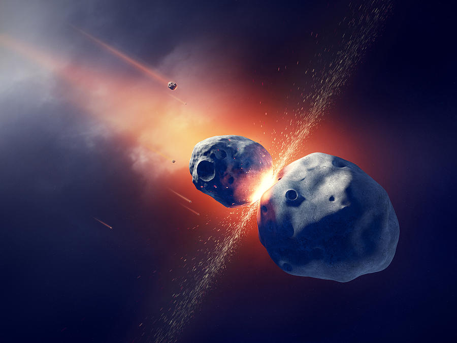 Asteroids Collide And Explode  In Space Photograph