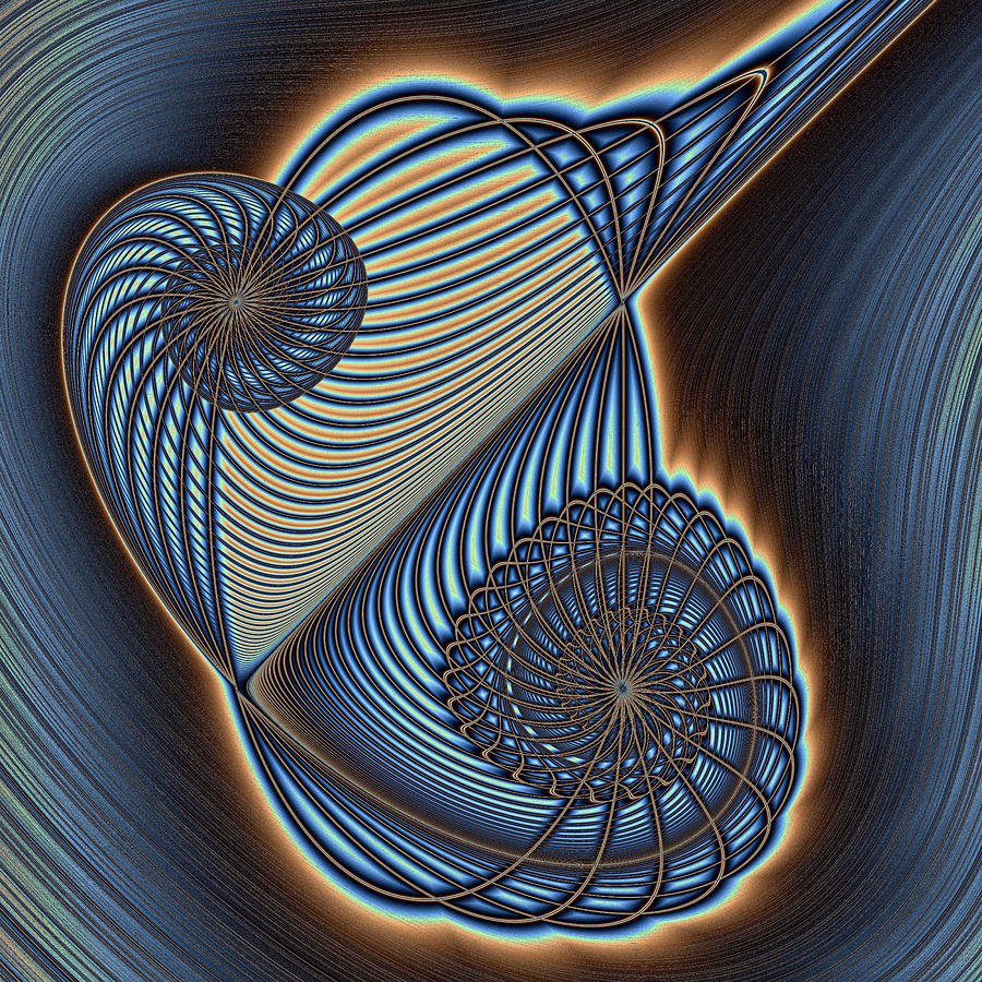 Asymmetric Wire Bow Spiral Digital Art  - Asymmetric Wire Bow Spiral Fine Art Print