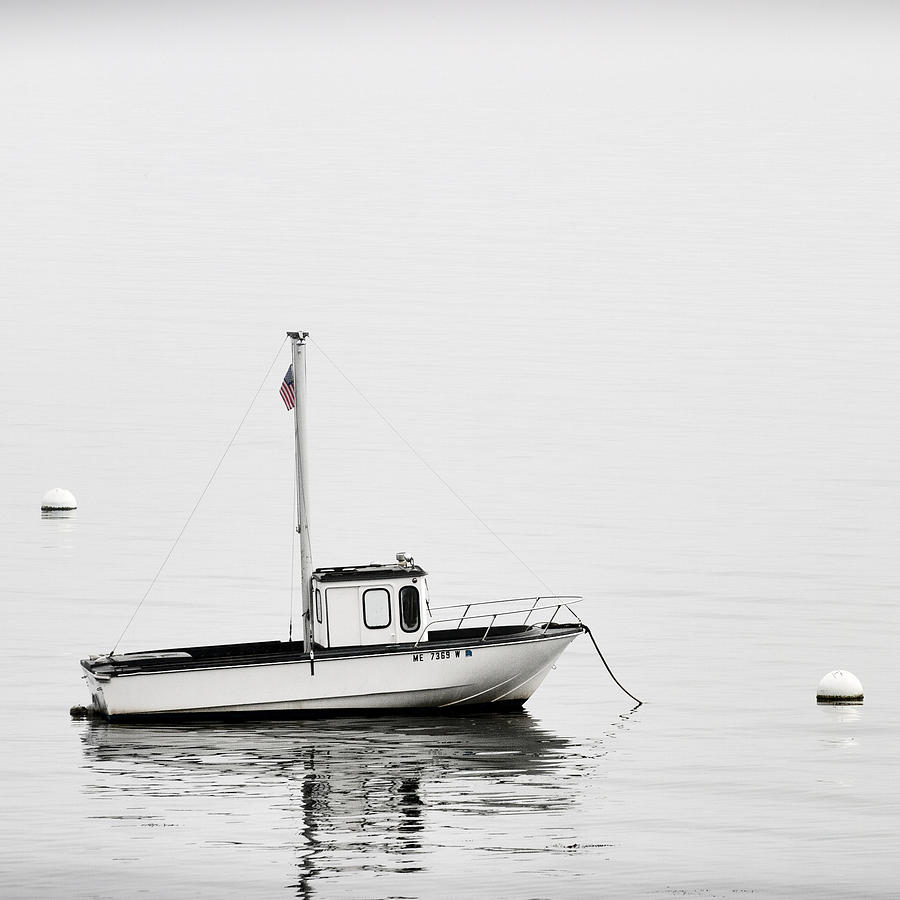 Boat Photograph - At Anchor Bar Harbor Maine Black And White Square by Carol Leigh
