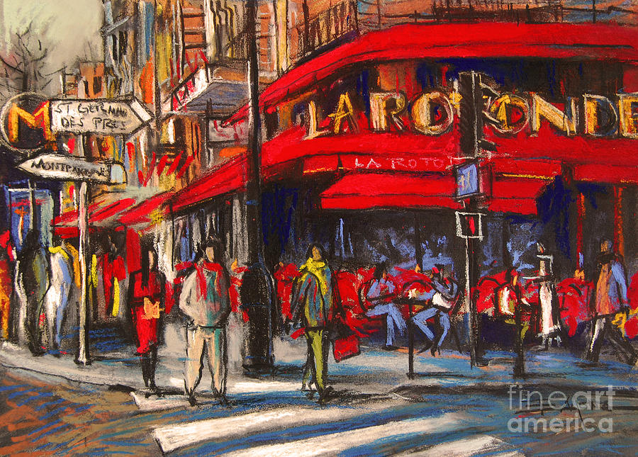 At The Cafe De La Rotonde Paris Painting