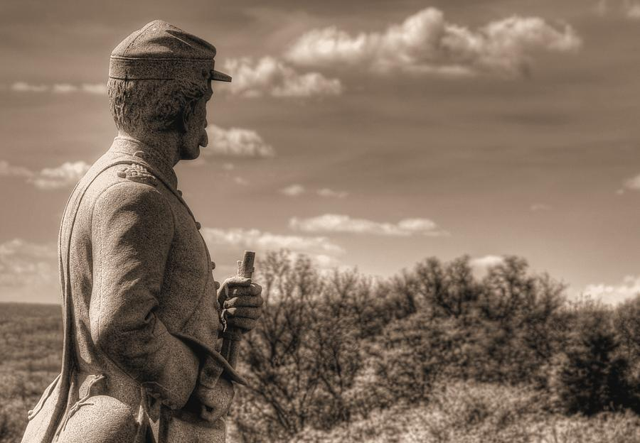Civil War Photograph - At The Ready - 84th Ny Vol Infantry 14th Brooklyn Regiment Red Legged Devils Railroad Cut Gettysburg by Michael Mazaika