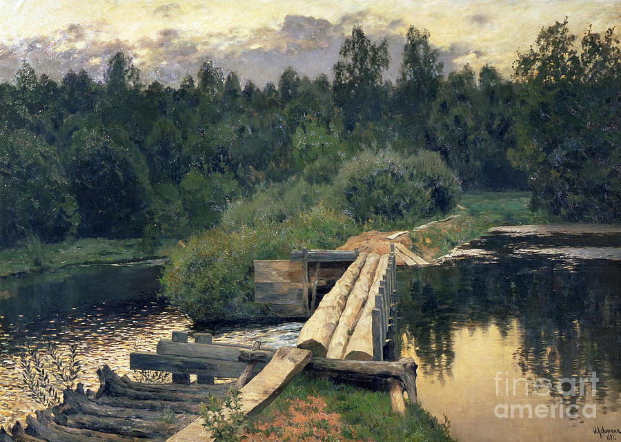 Barrier; Dam; Water; Reservoir; Landscape; Log Painting - At The Shallow by Isaak Ilyich Levitan