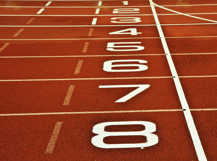 Athletics Photograph - Athletics Running Track Start Finish Line by Matthew Gibson