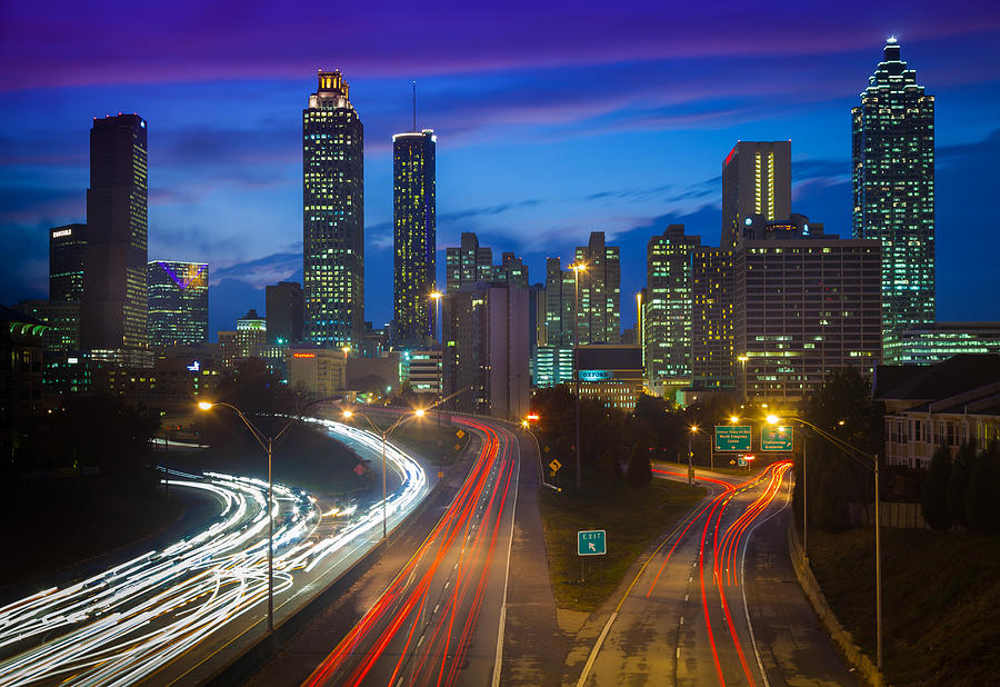 Atlanta Downtown By Night Photograph