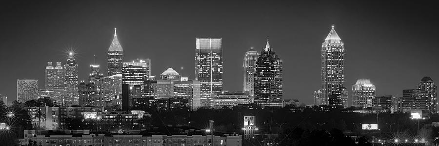 Atlanta Skyline At Night Downtown Midtown Black And White Bw Panorama Photograph