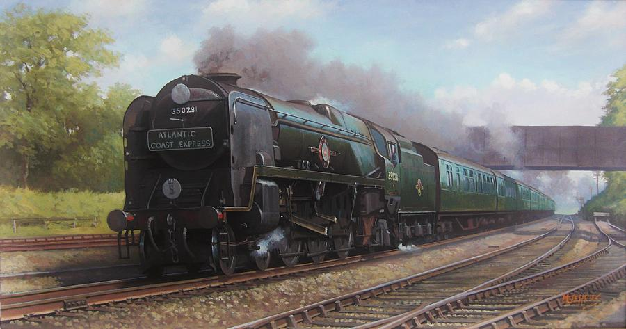 Steam Train\steam Train Artist Painting - Atlantic Coast Express by Mike  Jeffries