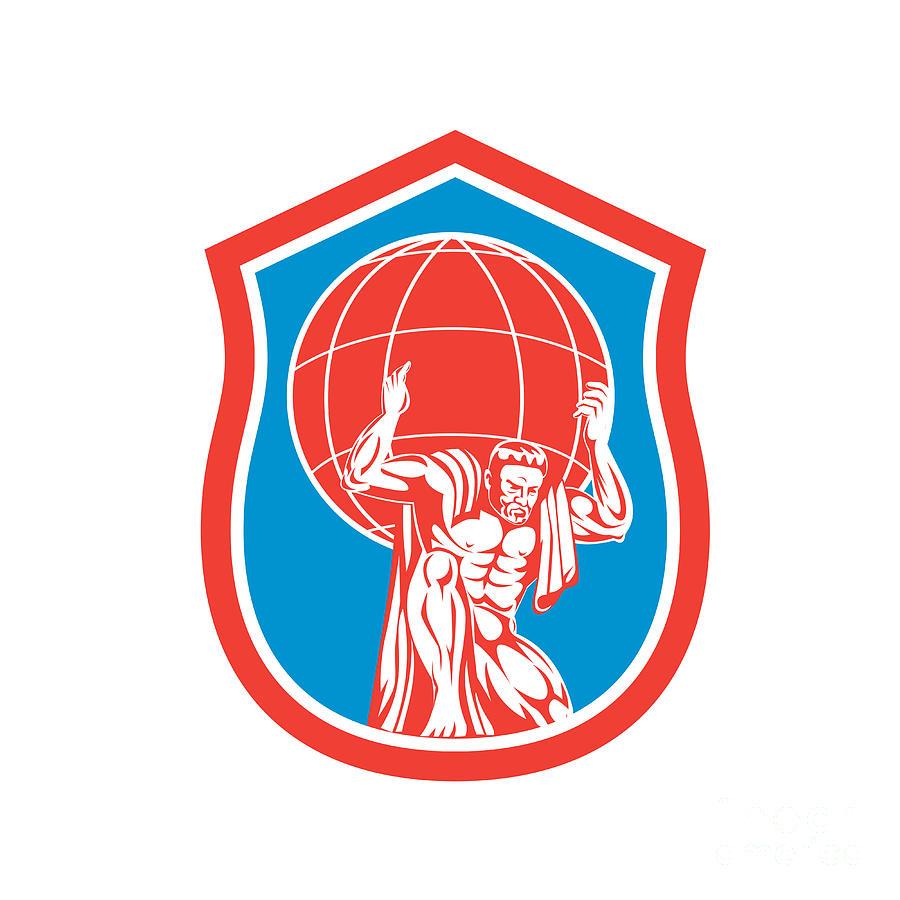 Atlas Carrying Globe On Shoulder Front Shield Retro Digital Art