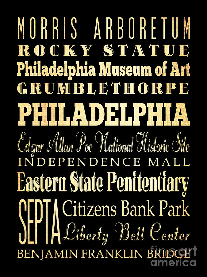 Attractions And Famous Places Of Philadelphia Pennsylvania Digital Art