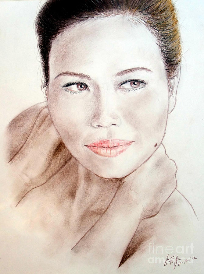 Attractive Asian Woman With Her Hair Pulled Back Drawing