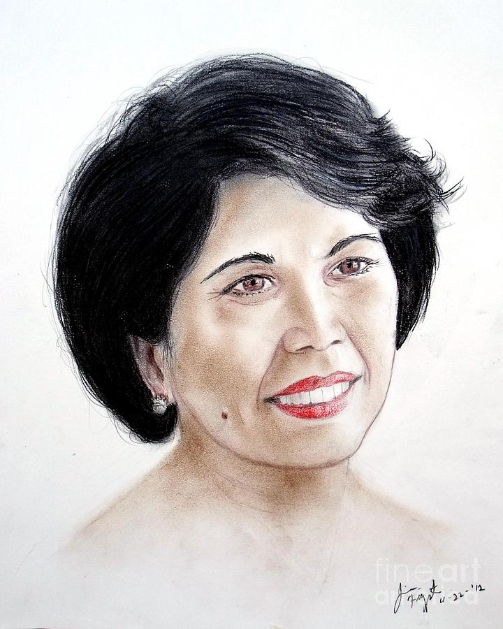 Attractive Filipina Woman With A Facial Mole Drawing