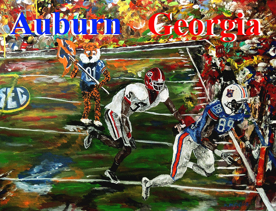 Auburn Georgia Football  Painting  - Auburn Georgia Football  Fine Art Print