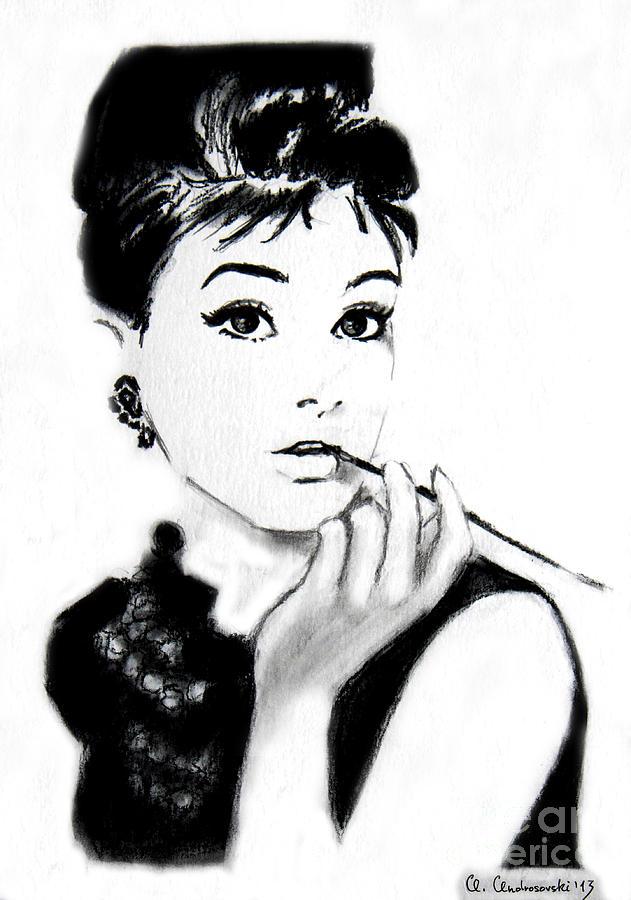 Audrey Painting - Audrey Hepburn by Anna Androsovski