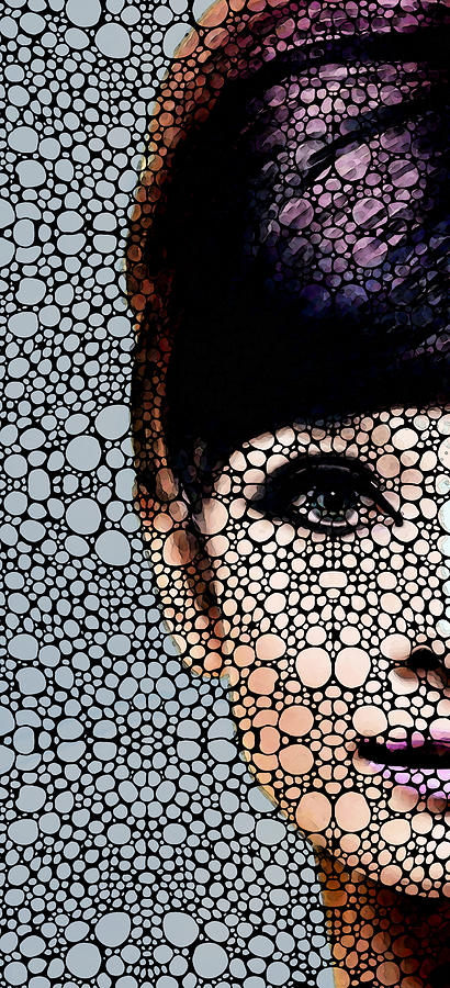 Audrey Hepburn - Stone Rockd Art By Sharon Cummings Painting  - Audrey Hepburn - Stone Rockd Art By Sharon Cummings Fine Art Print