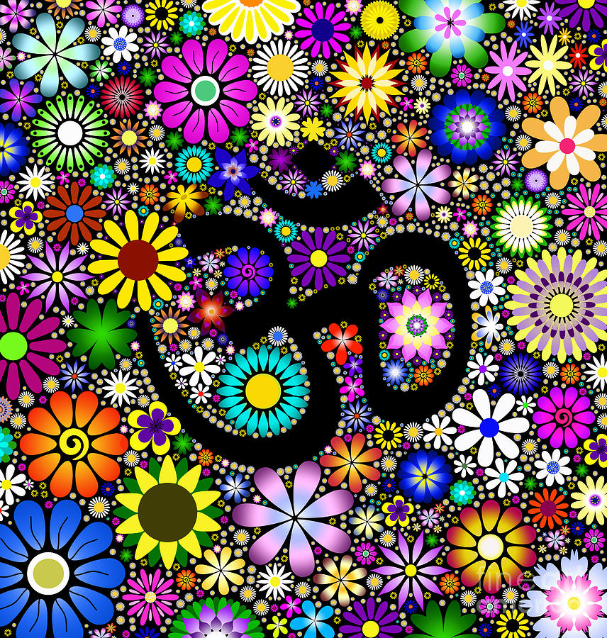 Aum Flowers Digital Art