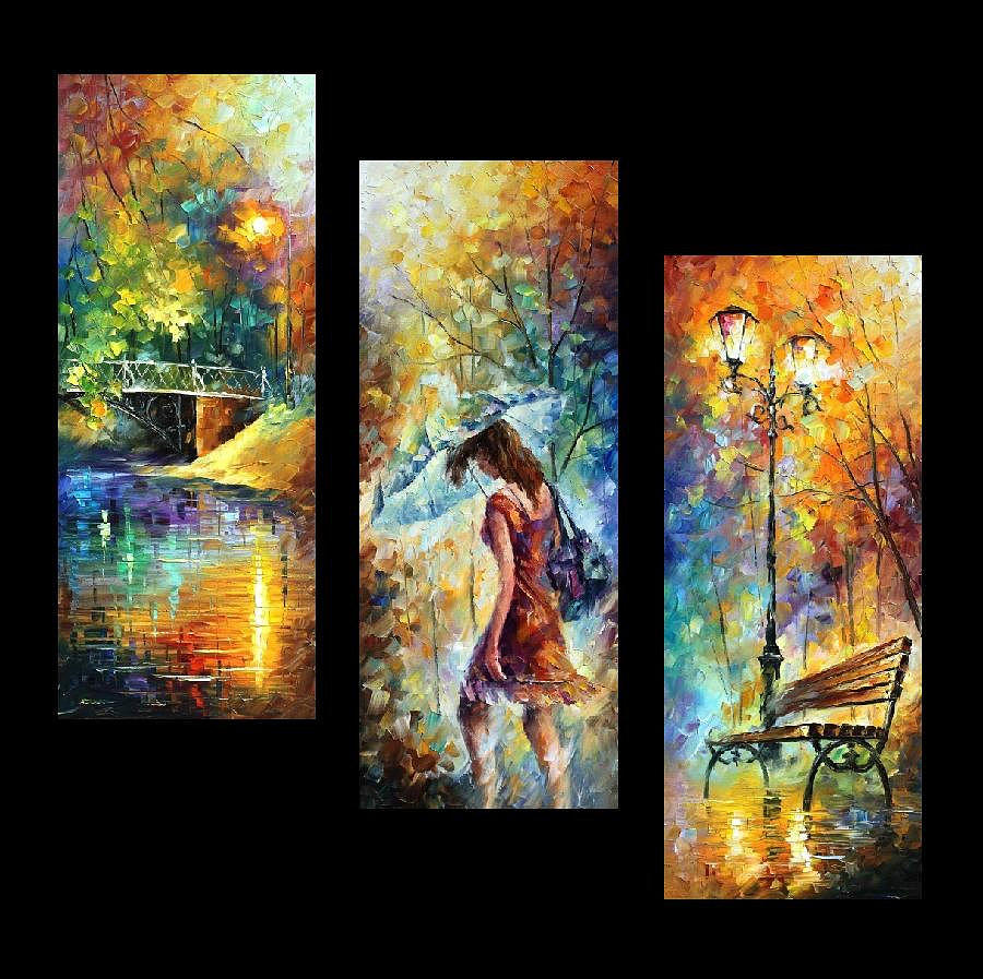Aura of autumn set of 3 paintings palette knife oil for Set of three canvas paintings