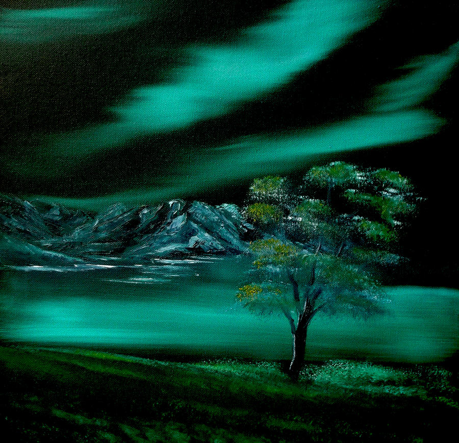 Aurora Borealis In Oils. Painting