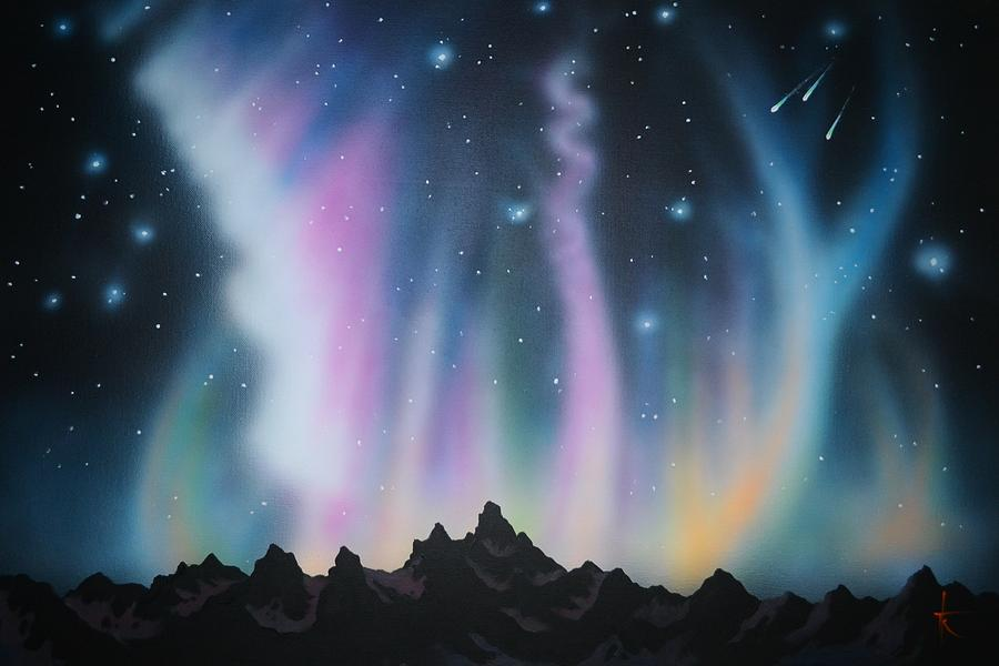 Aurora Borealis In The Rockies Painting By Thomas Kolendra