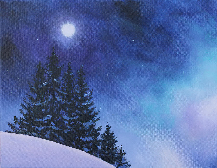 Aurora Borealis Winter Painting