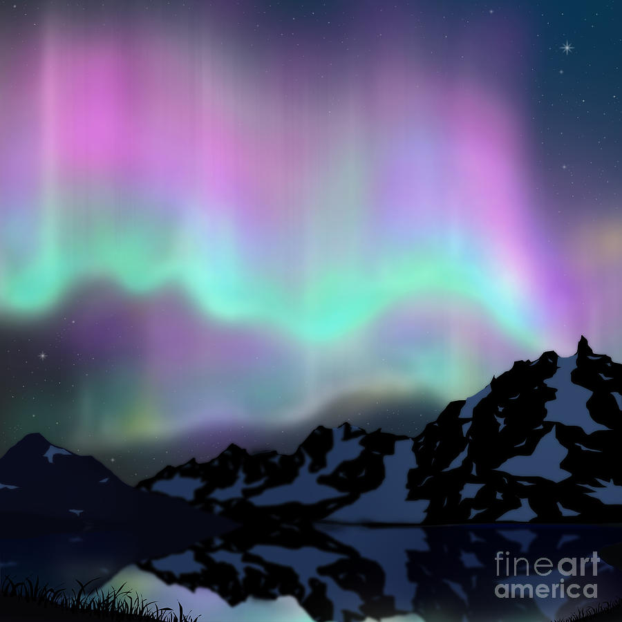 Aurora Over Lake Digital Art  - Aurora Over Lake Fine Art Print