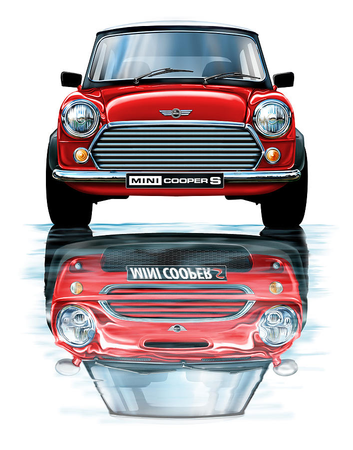 austin mini cooper with new bmw mini cooper reflected. Black Bedroom Furniture Sets. Home Design Ideas