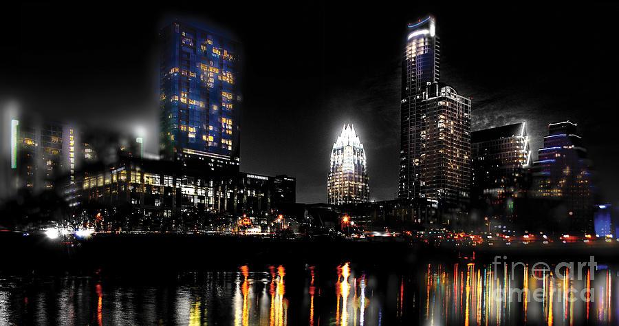 Austin Night Skyline Reflections  Photograph
