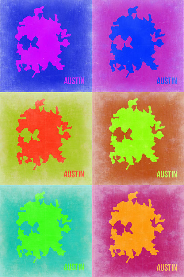Austin Pop Art Map 4 Painting  - Austin Pop Art Map 4 Fine Art Print
