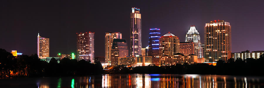 Austin Skyline At Night Color Panorama Texas Photograph  - Austin Skyline At Night Color Panorama Texas Fine Art Print