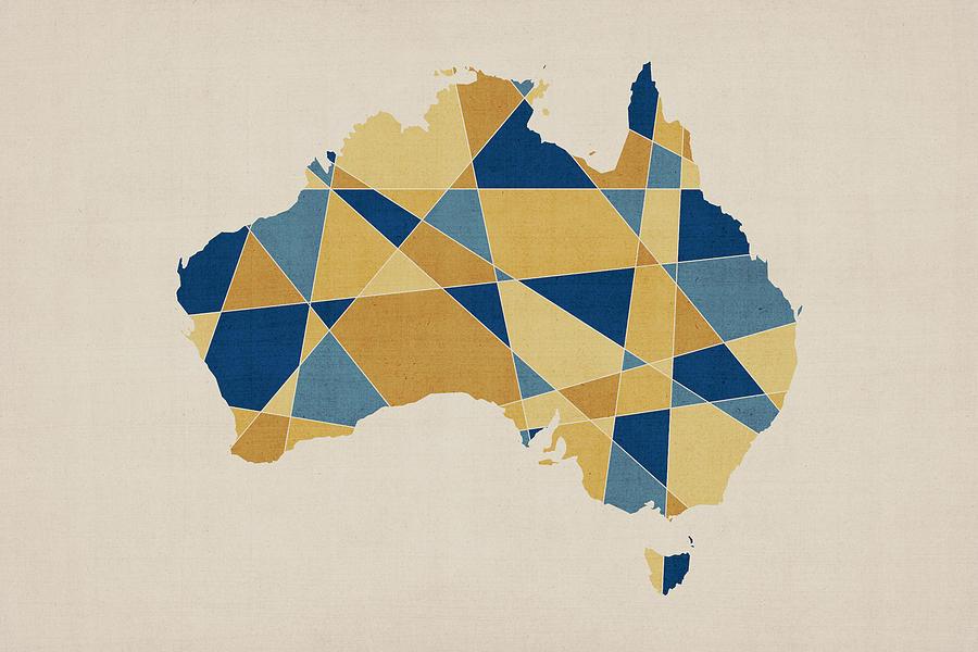 Australia Map Digital Art - Australia Geometric Retro Map by Michael Tompsett