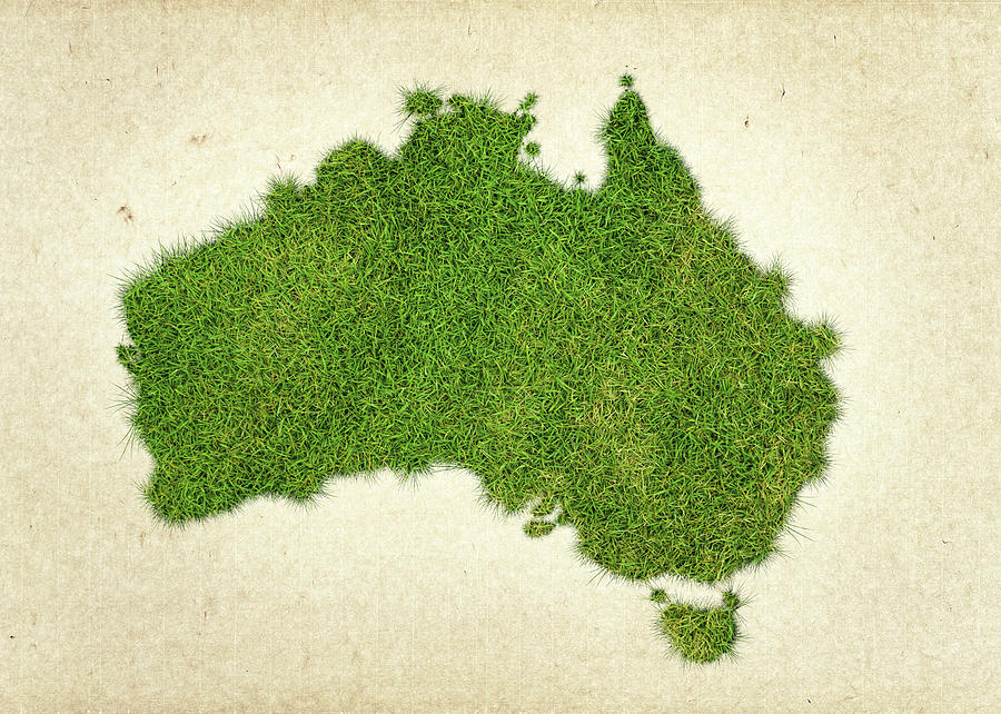 Map Of Australia Photograph - Australia Grass Map by Aged Pixel