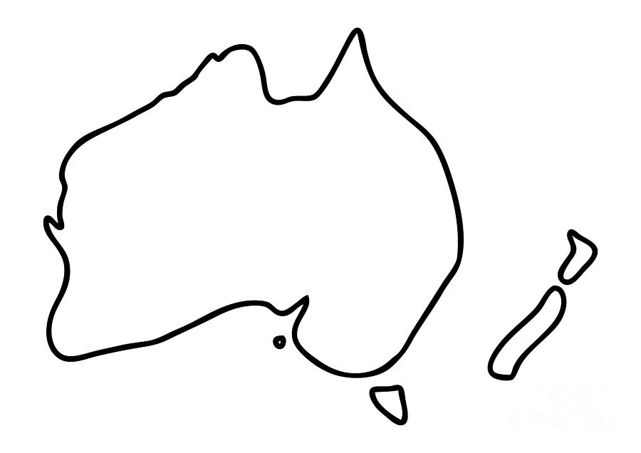 Line Drawing Of New Zealand : Australia new zealand downunder map drawing by lineamentum