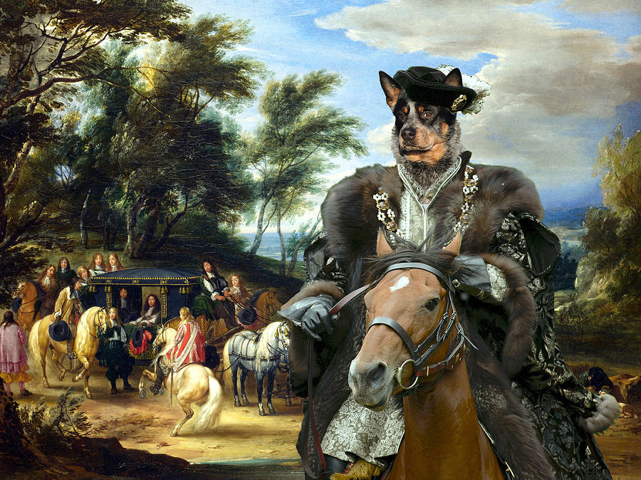 Australian Cattle Dog Canvas Print - Philippe Francois Darenberg Meeting Troops Painting