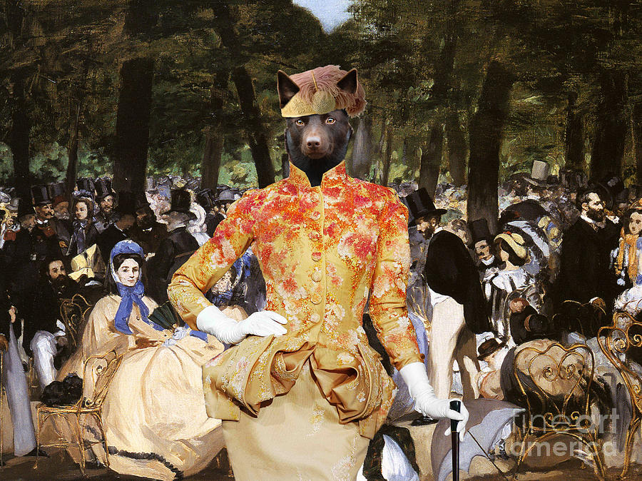 Australian Kelpie Canvas Print - Music With Tuileries Painting