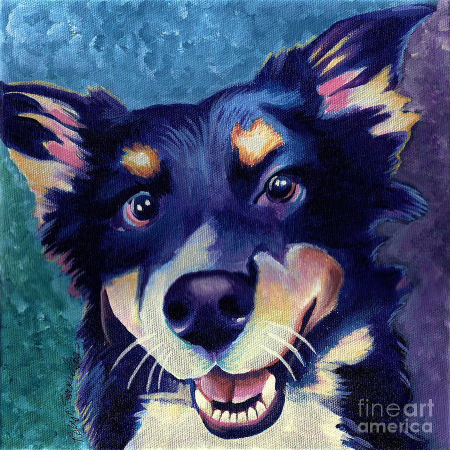 Australian Shepard Dog Portrait Painting