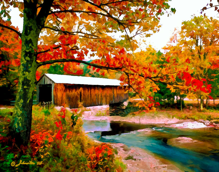 Authentic Covered Bridge Vt Painting  - Authentic Covered Bridge Vt Fine Art Print