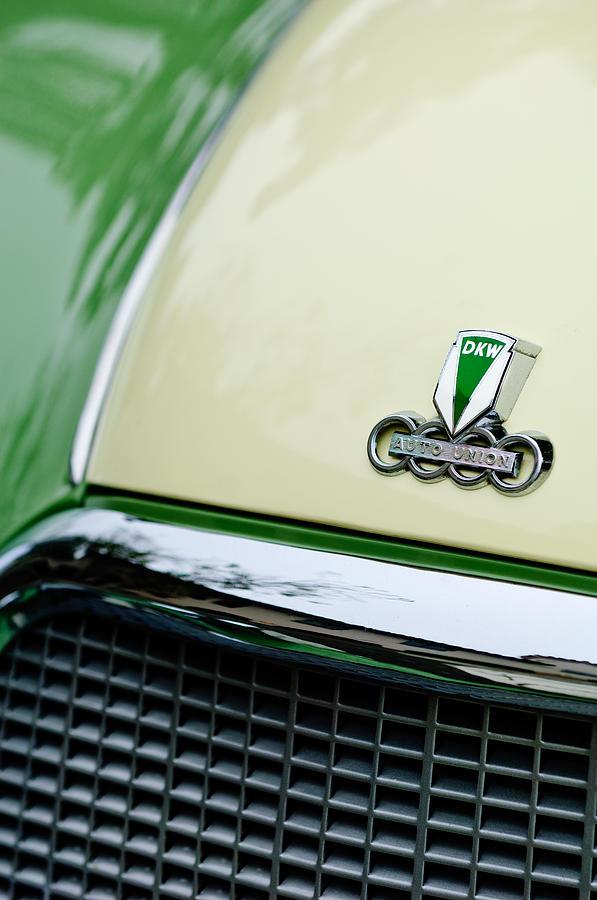 Auto Union Dkw Photograph - Auto Union Dkw Hood Emblem by Jill Reger