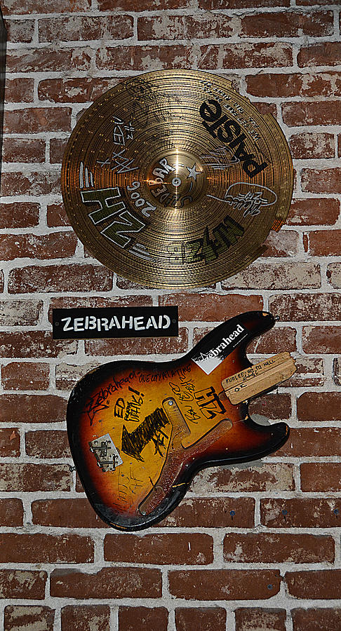 Autographed Guitar And Record Memorabilia Of The Famous Band Zebrahead Photograph  - Autographed Guitar And Record Memorabilia Of The Famous Band Zebrahead Fine Art Print
