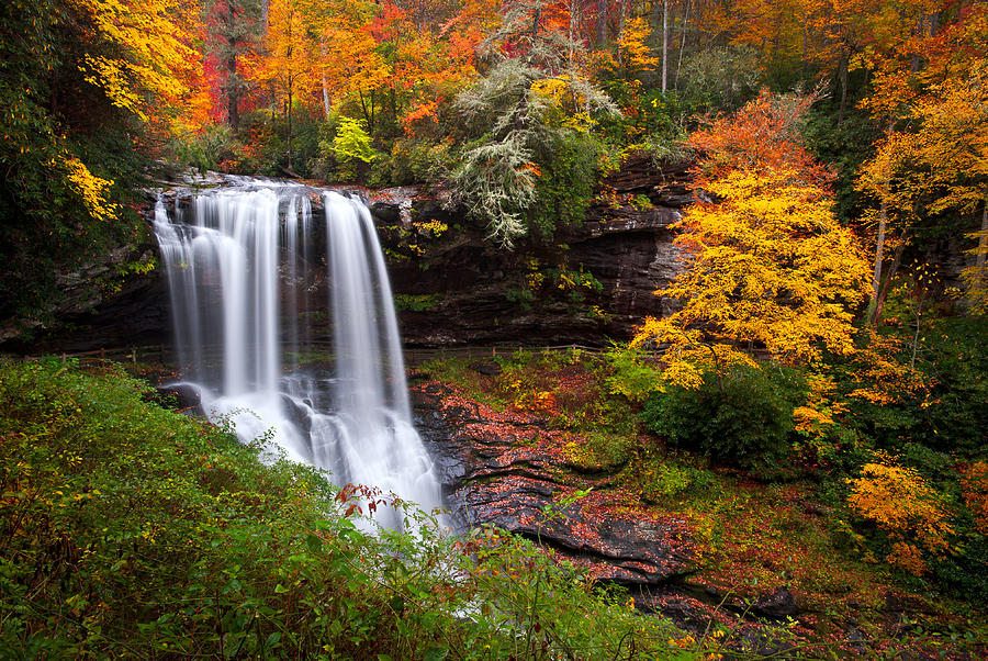 Autumn At Dry Falls - Highlands Nc Waterfalls Photograph  - Autumn At Dry Falls - Highlands Nc Waterfalls Fine Art Print