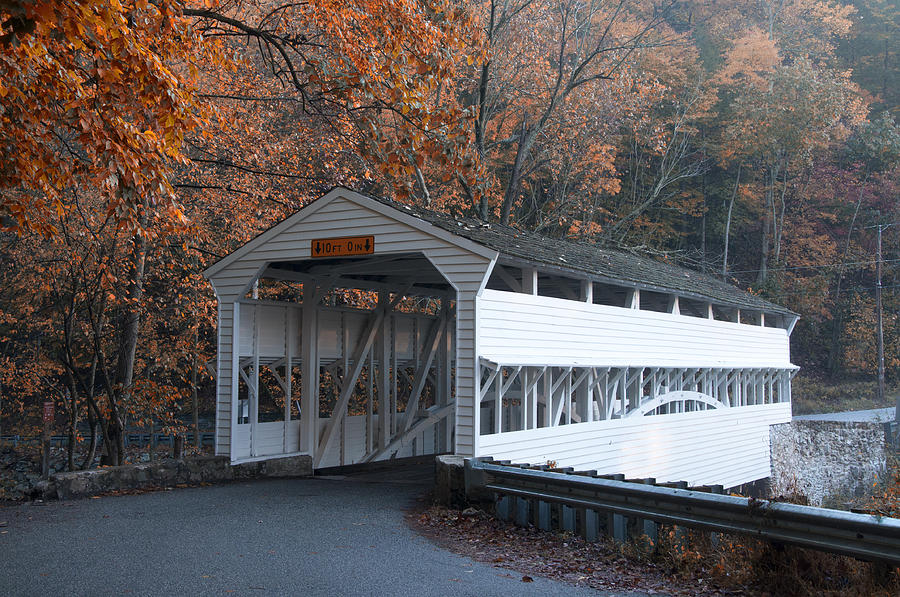 Autumn At Knox Covered Bridge In Valley Forge Photograph  - Autumn At Knox Covered Bridge In Valley Forge Fine Art Print