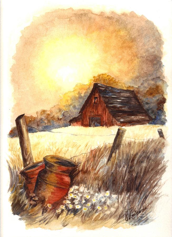 Autumn At Macgregors Barn Vignette Wc Painting