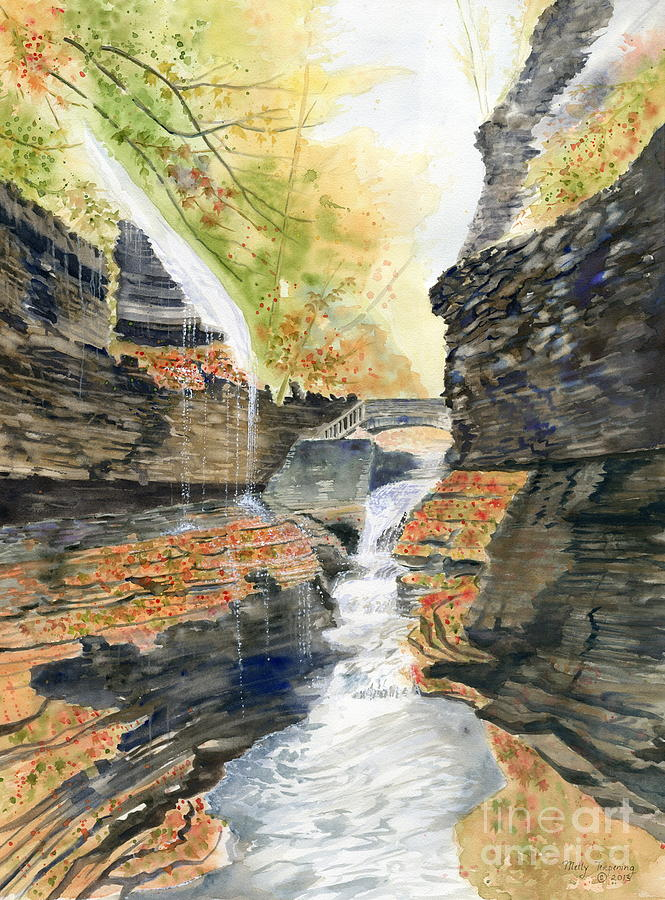 Autumn At Rainbow Falls Painting  - Autumn At Rainbow Falls Fine Art Print