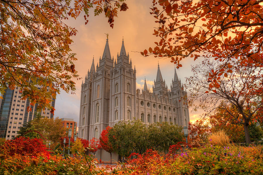 Autumn At Temple Square Photograph  - Autumn At Temple Square Fine Art Print