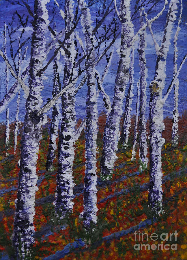 Autumn Birch Stand Painting