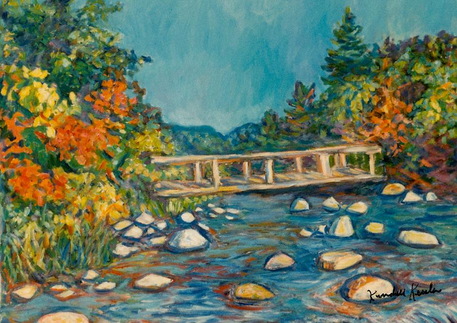 Autumn Bridge Painting  - Autumn Bridge Fine Art Print