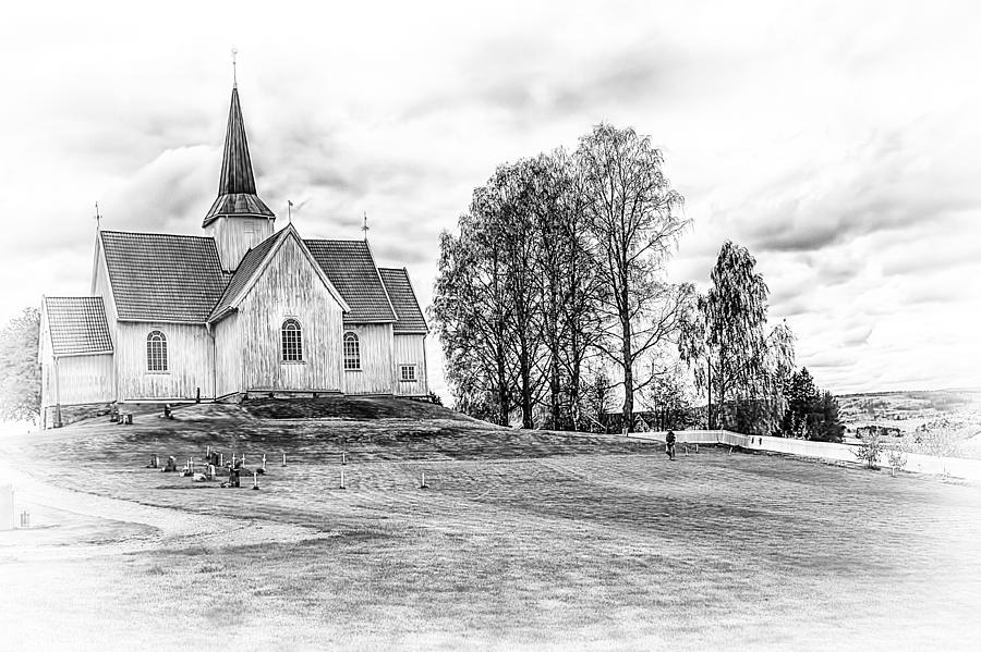 Autumn Church Bw Photograph