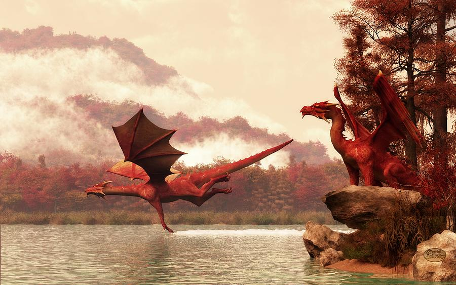 Autumn Dragons Digital Art  - Autumn Dragons Fine Art Print