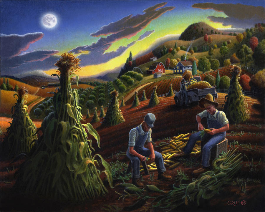 Autumn Farmers Shucking Corn Appalachian Rural Farm Country Harvesting Landscape - Harvest Folk Art Painting
